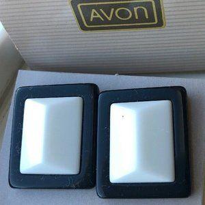 1980s Retro Avon CLASSIC LINES Black White Earring
